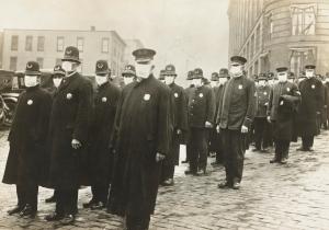 1918-19 Spanish flu police with masks