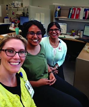 ISyE Ph.D. student Kirthana Hampapur (center) with Kristin Goin (left) and Meena Iyer of Shepherd Center